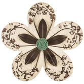 Distressed Cream Flower Wood Wall Decor